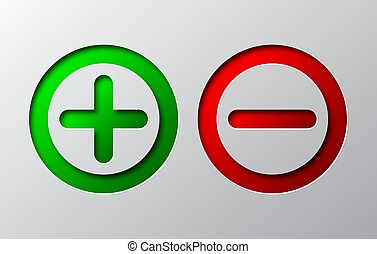 Paper art of red minus and green plus. Vector illustration.
