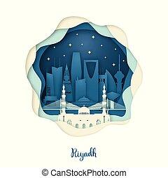 Paper art of Riyadh. Origami concept.