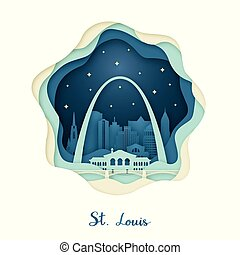 Paper art of St. Louis. Origami concept.