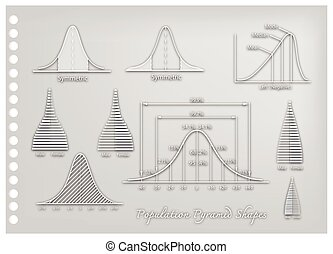 Paper Art of Standard Deviation Diagrams with Population Pyramid Charts