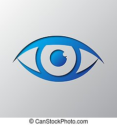 Paper art of the blue eye icon. Vector illustration.