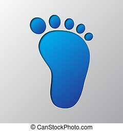 Paper art of the blue footprint icon. Vector illustration.