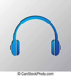 Paper art of the blue headphones icon. Vector illustration.