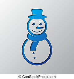 Paper art of the blue snowman icon. Vector illustration.