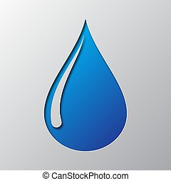 Paper art of the blue water drop icon. Vector illustration.
