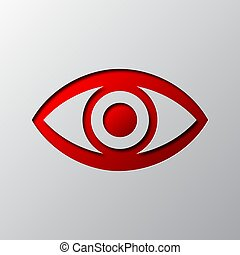 Paper art of the red eye icon. Vector illustration.