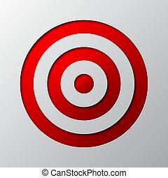 Paper art of the red target symbol. Vector illustration.