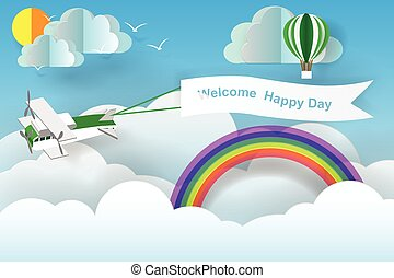 Paper art of welcome happy day board with plane flying in the sky, concept, vector art and illustration.