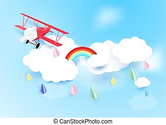 Paper art style airplane flying on sky with cloud and rainy background