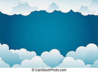 paper art style cloud background blue .vector illustration