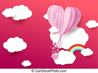Paper art style Heart shape balloon flying with cloud and rainbow. Love concept and Valentines day background