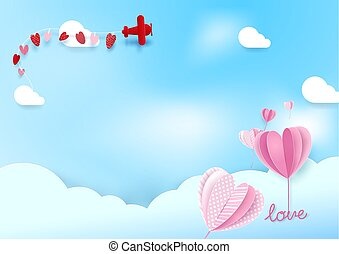 Paper art style Heart shape balloons flying in sky with airplane. Valentines day and Love background