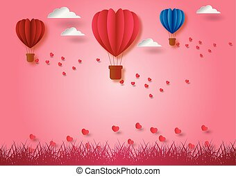 Paper art style of balloons shape of heart flying with pink background, vector illustration, valentine's day concept