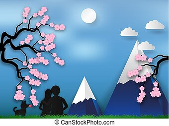 Paper art style of Cherry blossom on blue background with man and woman in love. vector illustration, valentines day concept