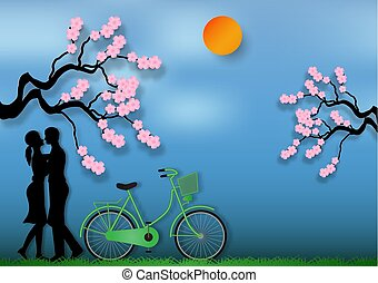 Paper art style of man and woman in love with bicycle and cherry blossom on blue background. vector illustration