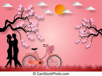 Paper art style of man and woman in love with bicycle and cherry blossom on pink background. vector illustration