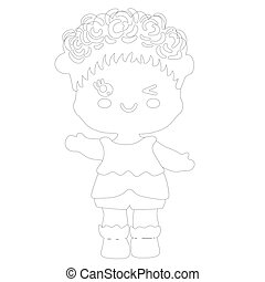 Paper baby doll icon in outline style isolated on white background.