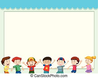Paper background with happy children
