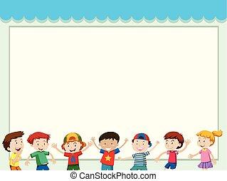 Paper background with happy children