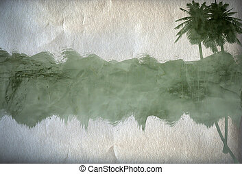 Paper background with palm