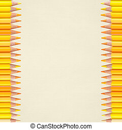 paper background with yellow pencils