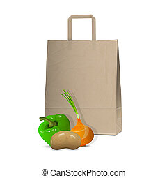 Paper bag and fresh vegetables