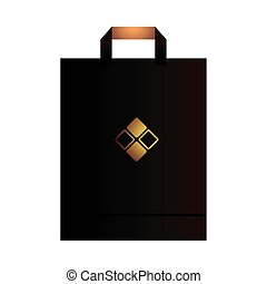 paper bag black with handle and corporate design vector illustration design