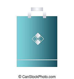 paper bag blue with handle and corporate design vector illustration design