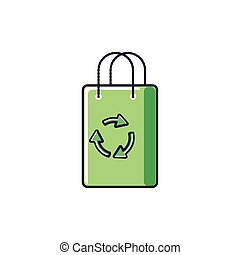 paper bag eco friendly isolated icon