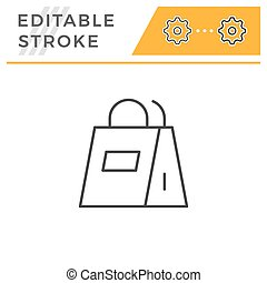 Paper bag editable stroke line icon