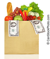 Paper bag filled with groceries and banknotes