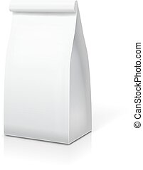 Paper bag for food coffee tea. White blank package template