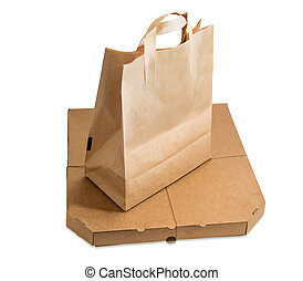Paper bag for food delivery and pizza box - Packaging for...