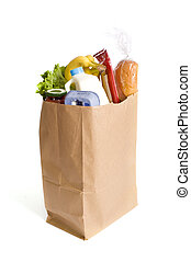 A brown kraft bag full of groceries including, milk, eggs, bread etc