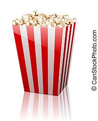paper bag full of popcorn on white background.