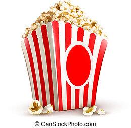 paper bag full of popcorn vector illustration isolated on...