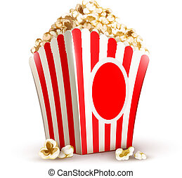 paper bag full of popcorn vector illustration isolated on...
