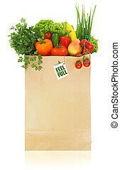 Paper bag full with fruits and vegetables