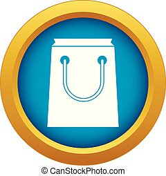 Paper bag icon blue vector isolated