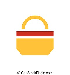 paper bag icon design yellow and red color