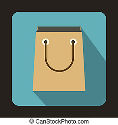 Paper bag icon, flat style