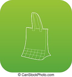 Paper bag icon green vector
