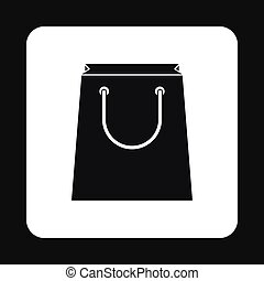Paper bag icon in simple style