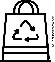 Paper bag icon, outline style
