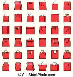 Paper bag icon set, filled style editable outline