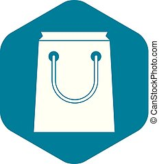Paper bag icon, simple style