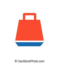 paper bag icon vector blue and orange