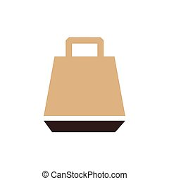 paper bag icon vector brown color