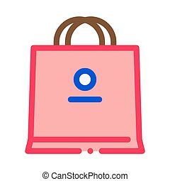 paper bag icon vector outline illustration