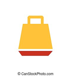 paper bag icon vector yellow and red color